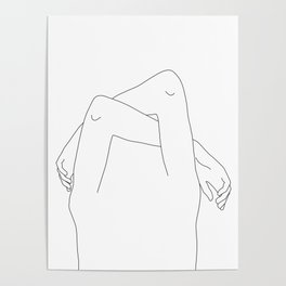Arms and hands minimal line drawing illustration - Dane Poster