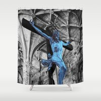 christ Shower Curtains featuring The Blue Christ by Philippe Gerber