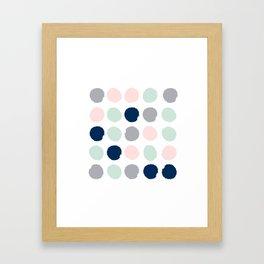 Trendy color palette minimal painted dots polka dot minimalist pink mint grey navy Framed Art Print
