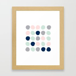 Trendy color palette minimal painted dots polka dot minimalist pink mint grey navy Framed Art Print