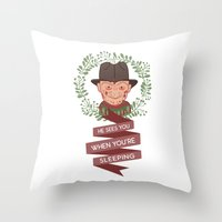 freddy krueger Throw Pillows featuring Freddy Krueger Christmas by Big Purple Glasses