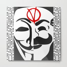 V for Fsociety Metal Print