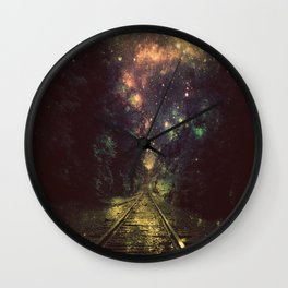 Train Tracks Next Stop Anywhere Dark Wall Clock