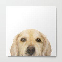 Golden retriever Dog illustration original painting print Metal Print