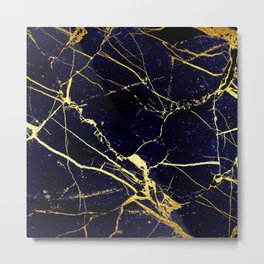 BlueBlack-Gold Marble Galaxy Impress Metal Print