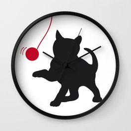 Playing Kitten Wall Clock