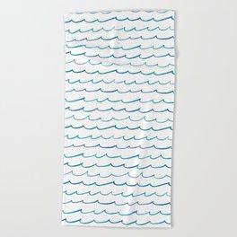 watercolor waves Beach Towel