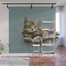 Beautiful Sleeping Tabby Cat Watercolour Wall Mural