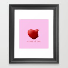 a bite of love (nibbled heart) pink Framed Art Print