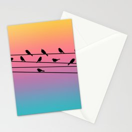 Birds on Power Lines Rainbow Sunset Gradient Stationery Cards