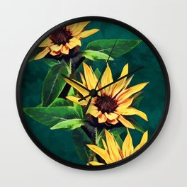 Watercolor sunflowers Wall Clock