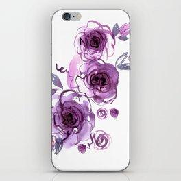 watercolor hand painted purple roses iPhone Skin