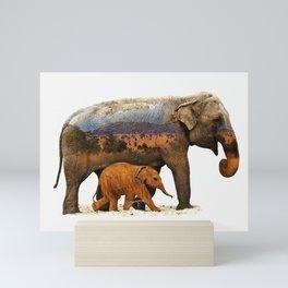 Elephants, Mother and Child Mini Art Print