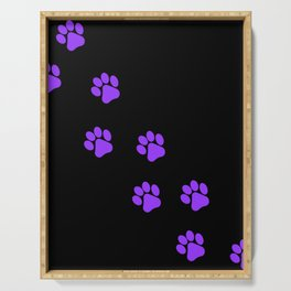 Cute Simple Animal Art Purple Cat Dog Paw Prints On Black Serving Tray