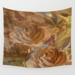 Textured flowers, leaves and butterflies art Wall Tapestry