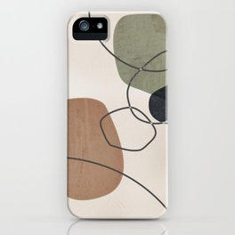 Linkedin Abstract in Sage Green, Cinnamon and Charcoal Grey iPhone Case