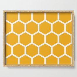 Honeycomb pattern - yellow Serving Tray