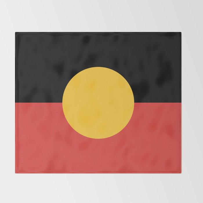 Australian Aboriginal Flag Throw Blanket
