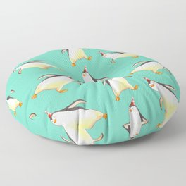 Penguins walking aimlessly seamless pattern in watercolor  Floor Pillow