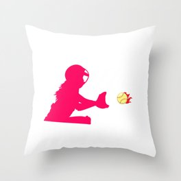 Softball Catcher Hair Daughter Softball Girl Throw Pillow