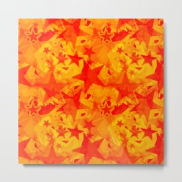 Calm intersecting blurred red stars on a yellow background. Metal Print