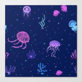 Jellyfish Bubble Sea Canvas Print