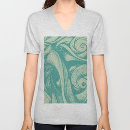 swirl (green and tan) Unisex V-Neck