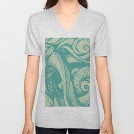 swirl (green and tan) Unisex V-Neck