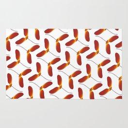 Red Japanese Maple Tree Samara Zigzag Pattern With Alternate Orientation Rug
