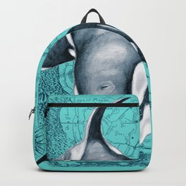Orca Teal Blue Map Backpack