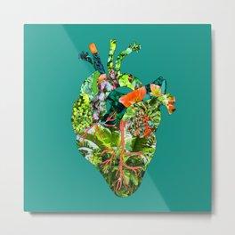 Botanical Heart Green Metal Print
