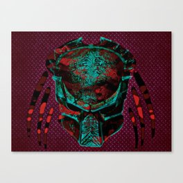 Soldier Predator Red Teal Canvas Print