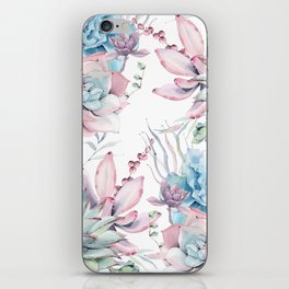 Pretty Pastel Succulents Garden 2 iPhone Skin