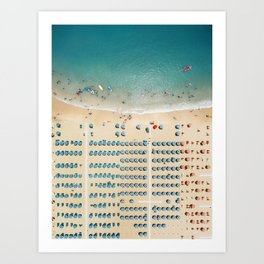 Aerial view of the beach in Rimini, Italy. Art Print