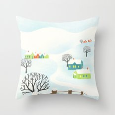 Snowy Little Town Throw Pillow
