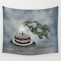birthday Wall Tapestries featuring Turtle Birthday by Anna Shell