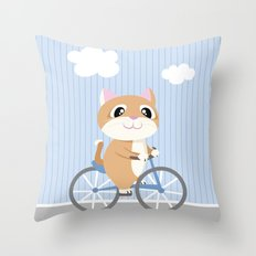 Mobile series bicycle cat Throw Pillow