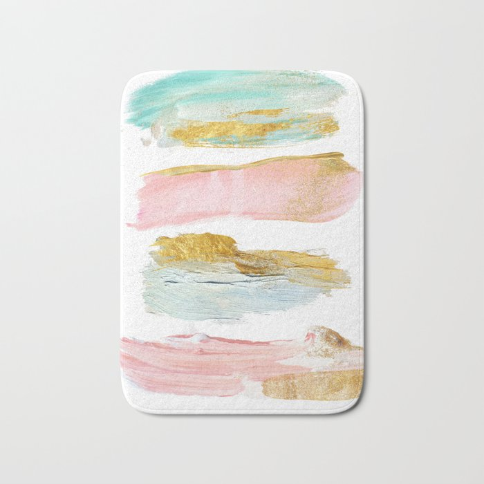 Pastel and gold strokes Bath Mat