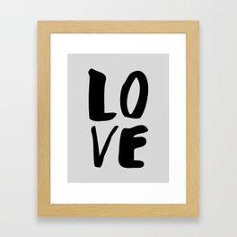 Monochrome LOVE black-white hand lettered ink typography poster design home decor wall art Framed Art Print