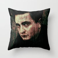 johnny cash Throw Pillows featuring Cash by Sirenphotos