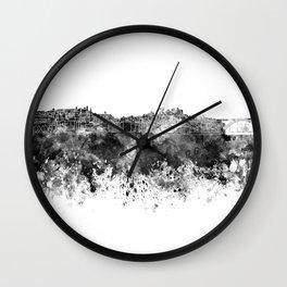 Porto skyline in black watercolor on white background Wall Clock