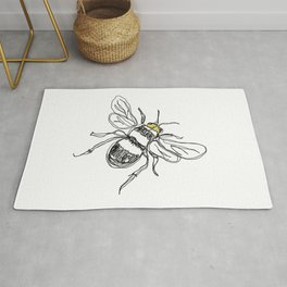 Contour drawing of a bee Rug