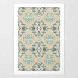 Vintage Floral - Light Blue Art Print
