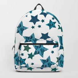smaller zebra blue star pattern Backpack
