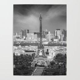 Paris Skyline | Monochrome Panorama Poster