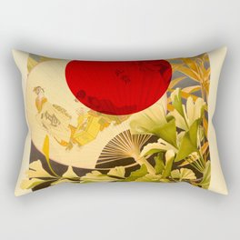 Japanese Ginkgo Hand Fan Vintage Illustration Rectangular Pillow