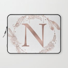 Letter N Rose Gold Pink Initial Monogram Laptop Sleeve
