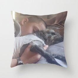 Boy and dog sleeping Throw Pillow