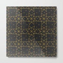 Geometric Golden Stars Metal Print