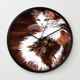 Elegant Long Haired Bi-Colored Cat Wall Clock